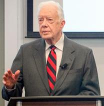 Former U.S. President and Emory University Distinguished Professor Jimmy Carter spoke to an audience Feb. 12 of Candler students, faculty and staff as part of the James T. & Berta R. Laney Legacy in Moral Leadership. Photo courtesy Candler School of Theology, Emory University.