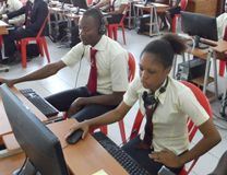Students are eagerly taking classes though the new Distance Learning Center at the Methodist University of Cote d'Ivoire. Photo courtesy the Methodist University of Cote d'Ivoire.