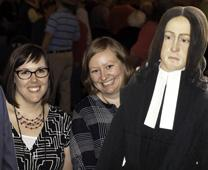 One of the fundraisers at the Dakotas Annual Conference Mission Festival was to have your photo taken with a flat version of either Bishop Bruce R. Ough, or John Wesley. Photo courtesy of the Dakota Conference. Cropped by UMC.org.