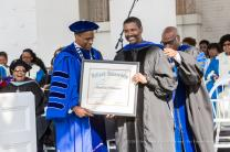 Denzel Washington receives an honorary degree at the Dillard Commencement featuring Denzel Washington at Dillard University. Saturday, May 9, 2015. Photo by Josh Brasted, courtesy of The Times-Picayune.