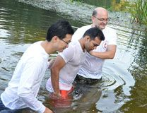 Soummete from Bishkek United Methodist Church is baptized during the Spirit Movement Festival in the local river near Voronezh, Russia. Photo courtesy the United Methodist Church in Eurasia.