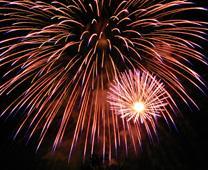 Fireworks in San Jose California. Photo by Ian Kluft, courtesy of Wikimedia Commons. Photo 9618, taken 2007.