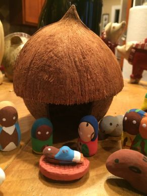Another view of JoAnn Hall's handmade Nativity scene from Haiti shows the coconut stable or shelter. Photo by JoAnn Hall.