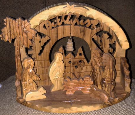 A Nativity set purchased in Bethlehem and made from olive wood is special to Karen Canfield.  She keeps the set out 'all year long.' Photo by Karen Canfield.