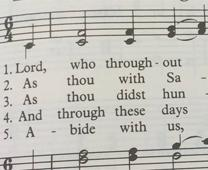 Music for the Lenten hymn, 'Lord, Who Throughout These Forty Days.' Photo by Steven Adair, United Methodist Communications. Detail from original.