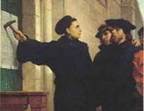 Painting of Martin Luther posting his 95 theses by Ferdinand Pauwels. Photo courtesy Wikimedia Commons.