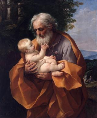 St. Joseph with the Infant Jesus, painted by Guido Reni, circa 1635, at the Hermitage Museum in St. Petersburg, Russia. Public domain painting. Photo courtesy Jan Arkesteijn, Wikimedia Commons.