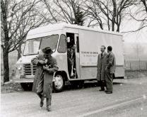 Archival photo of a truck for the Radio and Film Commission of The Methodist Church. Photo courtesy of United Methodist Communications.