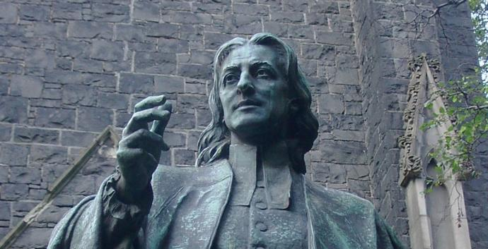 Statue of John Wesley by Paul Raphael Montford, in Melbourne, England. Photo by Adam Carr, Wikimedia Commons.