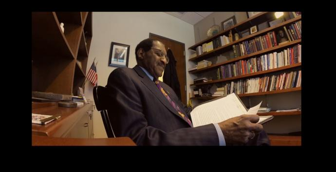 Video image of Bishop Woodie White reading his 2015 letter to Martin Luther King Jr. Courtesy of Joseph McBrayer/Candler School of Theology.