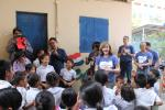 Greeting and singing with the children
