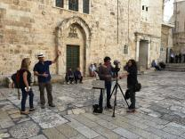 Tour guide Danny Herman describes the events that happened at Golgotha during the time of Christ for Bible VR's virtual reality tour of Jerusalem. Photo courtesy of Bible VR.