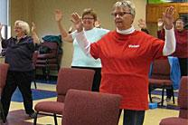 Seniors work out at Ankeny United Methodist Church in Ankeny, Iowa. The church has multipurpose rooms that hold both