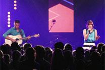 Musicians perform contemporary Christian music at a youth conference in 2015. Photo courtesy of Discipleship Ministries.