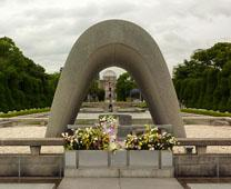Flowers adorn Hiroshima Peace Memorial Park in Hiroshima, Japan. Photo by Nanosanchez, courtesy of Wikimedia Commons,  2010. Edited by UMC.org.