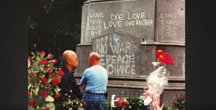 The base of a statue of George Washington in Union Square Park, New York City, became a place where expressions of love were shared in chalk in the days following 9/11. Photo courtesy Jennifer Rodia, United Methodist Communications.