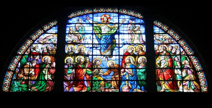 Jesus' ascension has been celebrated by Christians through the centuries. Stained glass by Francois Denis, photo by Crochet.david, via Wikimedia Commons.