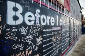 A Before I die wall in Hillcrest, San Diego, California
