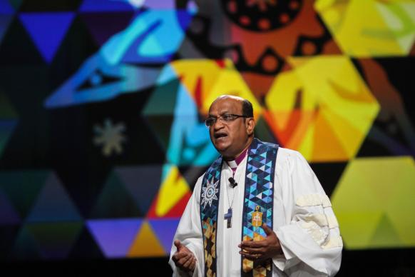 Bishop Sudarshana Devadhar preaches at the May 14 worship service at the United Methodist 2016 General Conference. Photo by Maile Bradfield, United Methodist Communications.