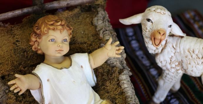 Baby Jesus and lamb figurine from Nativity scene. Photo Credit: Photo by Kathleen Barry, United Methodist News Service.