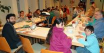 Erlöserkirche United Methodist Church in Bremen, Germany welcomed refugees to weekly gatherings that included a meal together. Photo courtesy of Bishop Rosemarie Wenner.