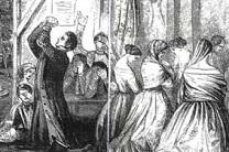 Artist's drawing shows sinners seeking repentance at an early Methodist camp meeting. Image in the public domain.