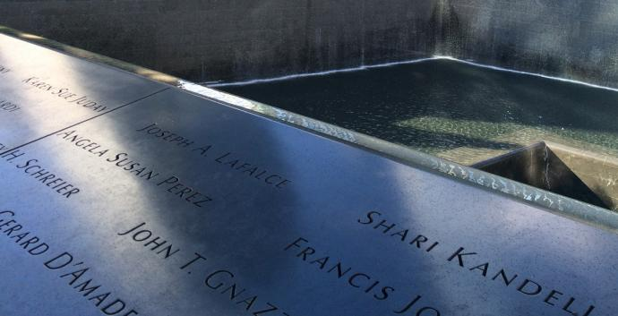 Names of those killed are etched onto the 9/11 Memorial in New York City. Photo by Fran Coode Walsh, United Methodist Communications.