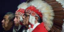 Native American leaders listen to a report to the 2016 General Conference about the 1864 Sand Creek Massacre. Photo by Paul Jeffrey, United Methodist Communications.