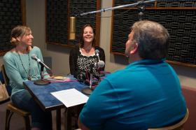Jenny Youngman, Kara Oliver, and Joe Iovino in the studio