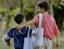 Two students from Yugoslavia walk home together. Photo by Mike DuBose, United Methodist Communications.