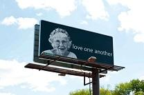A billboard features 95-year-old United Methodist Shirley Bachelder. Image courtesy of Shirley Bachelder.