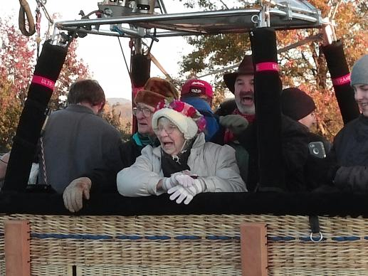 Shirley Bachelder received a ride in a hot air balloon. Photo courtesy of Shirley Bachelder.
