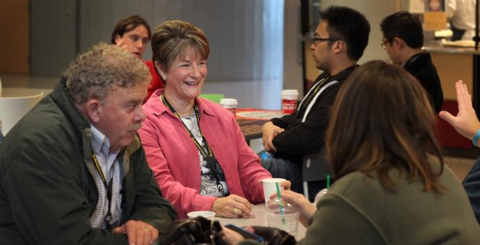 Several people converse during a break at the 2013 Relevance LEAD held at the University of Nevada campus. Photo by Kathleen Barry, United Methodist Communications.