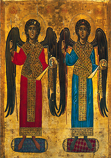 Angels Michael and Gabriel depicted in a 12th century icon.