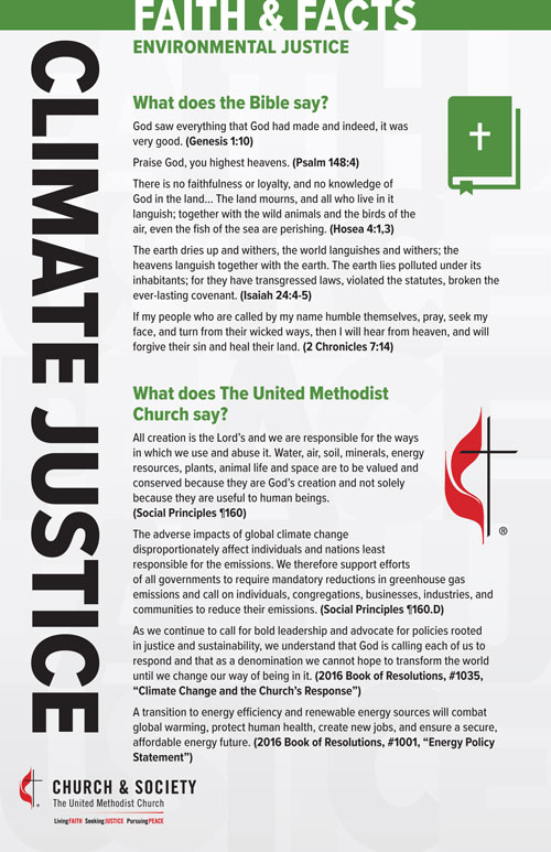 Climate Justice fact card from the General Board of Church and Society of The United Methodist Church.