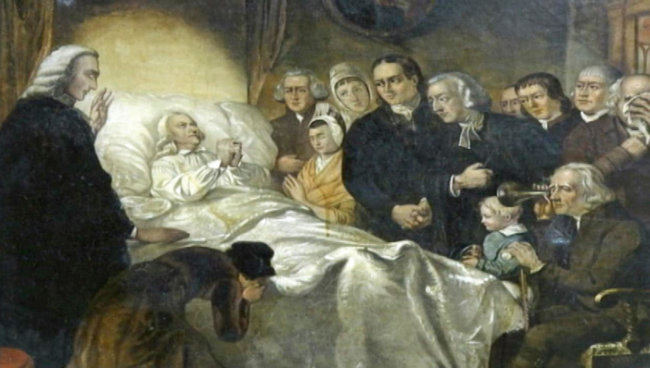 Image of John Wesley on his deathbed.