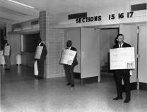 Fifteen members of Black Methodists for Church Renewal, led by the Rev. Cecil Williams, would hold a silent vigil in front of the auditorium during the 1968 Uniting Conference in Dallas on April 23. Photo courtesy of the Commission on Archives and History.