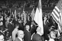 Processional during the Uniting Conference of 1968 features flags from the 53 countries, testifying to the breadth of this new merger. Image courtesy of the United Methodist Commission on Archives and History.