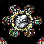 A stained-glass window featuring John and Charles Wesley is found at the Wesley Memorial Methodist Church in Epworth, England. Photo by Kathleen Barry, United Methodist Communications