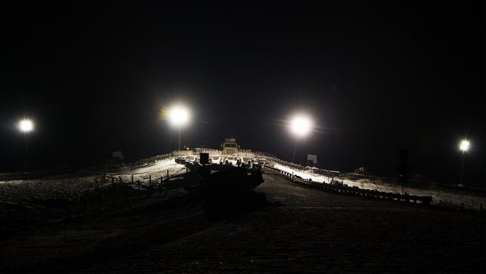 Barricade at night-Standing Rock, North Dakota 2016