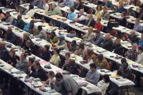 Delegates to the United Methodist Church's 2004 General Conference consider legislation from  their seats in the David L. Lawrence Convention Center in Pittsburgh. A UMNS photo by John C. Goodwin..Photo number GC04303, 4/29/04