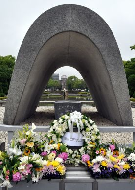 A wreath and flowers from the International Association of Methodist Schools, Colleges and Universities pay tribute to the lives lost in Hiroshima, Japan, on August 6, 1945. Photo by Kimberly Lord, General Board of Higher Education and Ministry.