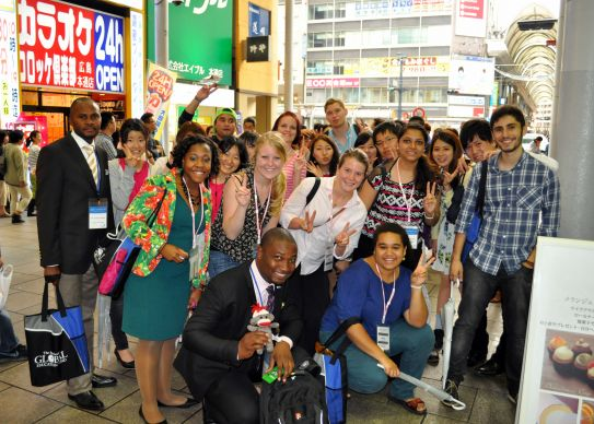 The largest global student delegation ever to participate in a triennial International Association of Methodist Schools, Colleges and Universities meeting make new connections during the meeting in Hiroshima, Japan, May 24-28. Photo by Kimberly Lord, General Board of Higher Education and Ministry.