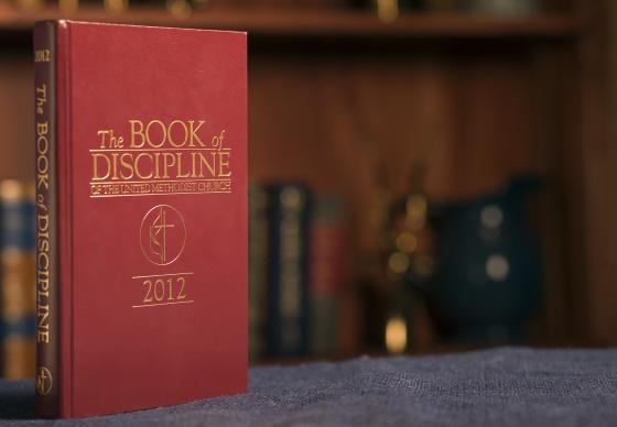 The 2012 edition of the Book of Discipline of The United Methodist Church.  The book includes church policies and laws, including how to adjudicate church trials.  Photo by Mike DuBose, UMNS