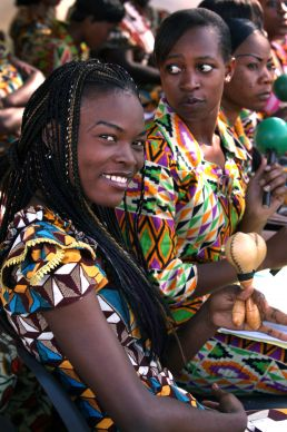 Angel Tshindj Musaw, a 2014 graduate of Africa University in Mutare, Zimbabwe smiles in her role as singer in the AU choir in this 2013 file photo. She is from the Democratic Republic of Congo. Photo by Kathleen Barry, UMNS.; A UMNS photo by Kathleen Barry