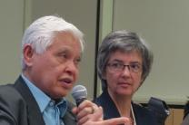 Meeting of the Connectional Table in Chicago, Illinois. Bishop Daniel Arichea, Jr. speaks as a panelist for Christian Conferencing on Human Sexuality. To his right is Bishop Hope Morgan Ward. Photo by Diane Degnan.