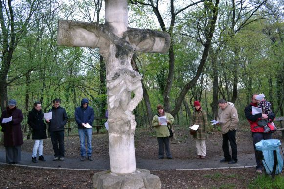 People with Obuda United Methodist Church in Budapest, Hungary gather around the cross. Photo courtesy of Obuda United Methodist Church.; Photo courtesy of Obuda United Methodist Church