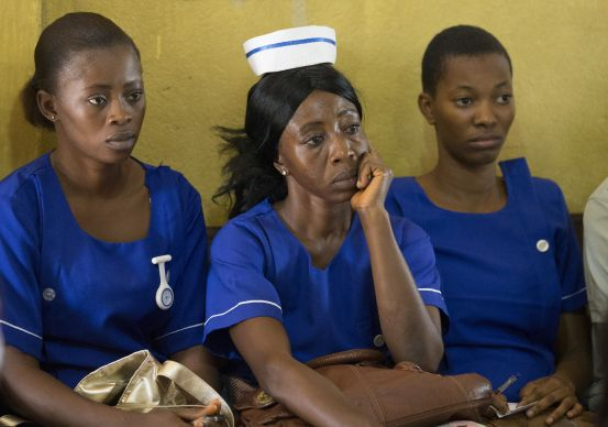 Nurses listen intently during a panel discussion at the United Methodist Church's Mercy Hospital in Bo, Sierra Leone to help prepare health care workers for a possible outbreak of the Ebola virus. Photo by Mike DuBose, UMNS