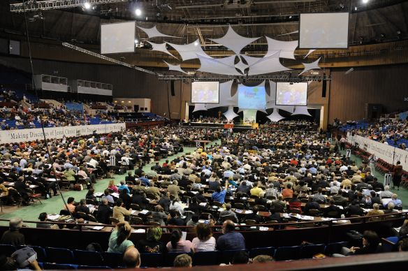 Delegates to the 2008 United Methodist General Conference meet in Fort Worth, Texas. A UMNS photo by John C. Goodwin. Photo #GC0175. April 25, 2008.; A UMNS photo by John C. Goodwin