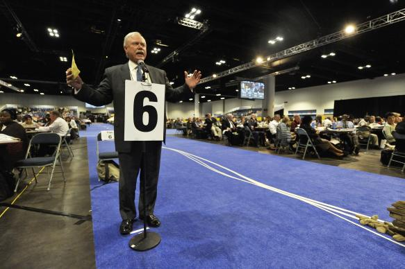A delegate speaks during a May 2 session of the 2012 United Methodist General Conference in Tampa, Florida, against divestment from corporations profiting from the illegal Israeli settlement of occupied Palestinian territories in this file photo. The divestment move was defeated.